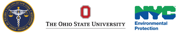 NYC Medical Examiner's Office logo, Ohio State University, NYC Environmental Protection