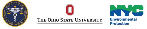 NYC Medical Examiner's Office logo, Ohio State University, NYC Environmental Protection
